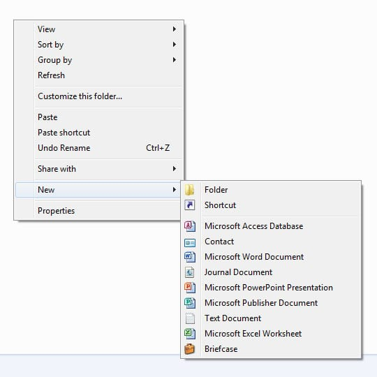 right click create new folder or copy